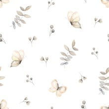 Butterflies, Leaves And Berries On Seamless Pattern, Vector Light Illustration On White Background For Textile, Wrapping Paper And Print In Vintage Watercolor Style.