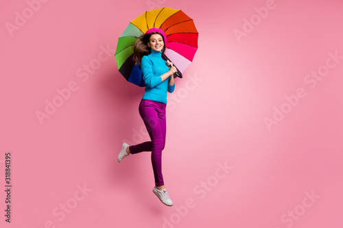 Cuadros en Lienzo Full size photo of cheerful girl jump hold shine umbrella enjoy fall free time w