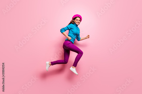 Full length profile side photo of girlish cheerful girl jump run want buy bargai Canvas Print