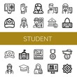 student simple icons set