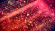 Leinwandbild Motiv 3d abstract beautiful background with light rays colorful glowing particles, depth of field, bokeh. Abstract explosion of multicolored shiny particles or light rays like laser show.