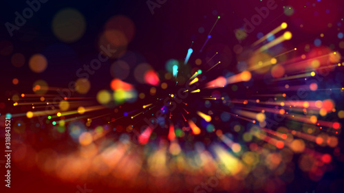 Photo 3d abstract beautiful background with light rays colorful glowing particles, depth of field, bokeh