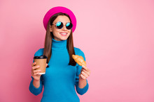 Portrait Of Positive Girl Travel Trip Enjoy Cafe Rest Hold Takeout Mug Latte Beverage Delicious Croissant Wear Blue Retro Sunglass Headwear Isolated Over Pastel Pink Color Background