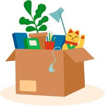 Cardboard Box With Personal Belongings