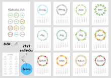 Calendar 2020. Monthly Calendar 2020 Template Decorated With Hand Lettered Names Of Months Of The Year On Background Of Beautiful Floral Circle Frames. Bonus - 2021 Calendar. Vector Illustration 8 EP