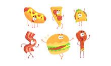 Funny Fast Food Cartoon Characters Collection, Hot Dog, Pizza, Tako, Ham Slice, Burger, Fried Chicken Drumstick, Cafe Or Restaurant Menu Design Element Vector Illustration