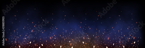 Sparks of fire on dark background horizontal banner. Vector realistic illustration.