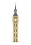 Fototapeta Big Ben - Big Ben tower in London, UK, isolated on a white background. Vector illustration, flat style.