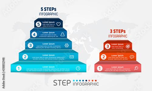 Obraz Pyramid shape elements of graph,diagram with steps on world map background. Creative business data visualization. - fototapety do salonu