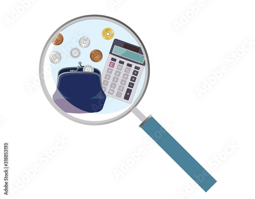 Photo 虫眼鏡と財布、電卓、お金のイラスト|家計管理、家計簿のイメージイラスト