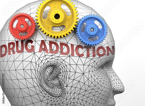 Photo Drug addiction and human mind - pictured as word Drug addiction inside a head to