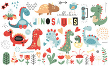 Cute Dinosaurs And Floral Coll...