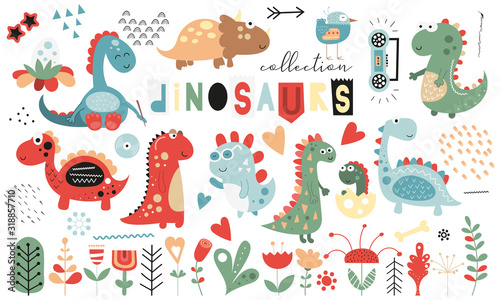 Cute dinosaurs and floral collection - leaves, flowers, plants. Hand drawn. Doodle cartoon dino characters for nursery posters, cards, kids t-shirts. Vector illustration. Isolated on white background.