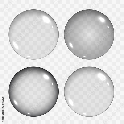 Photo Set of Translucent Empty Glass Spheres or Circles