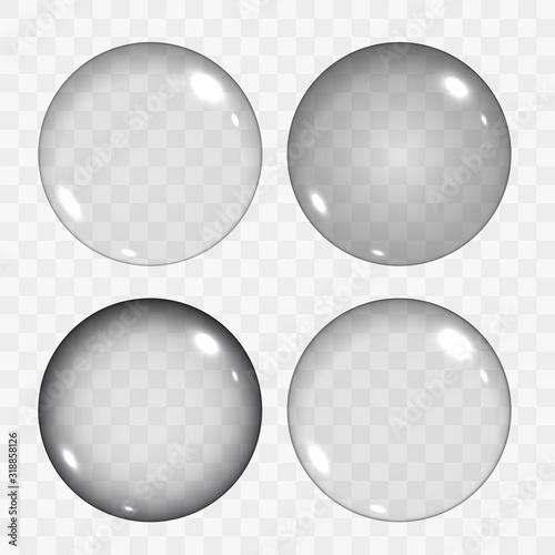 Vászonkép Set of Translucent Empty Glass Spheres or Circles