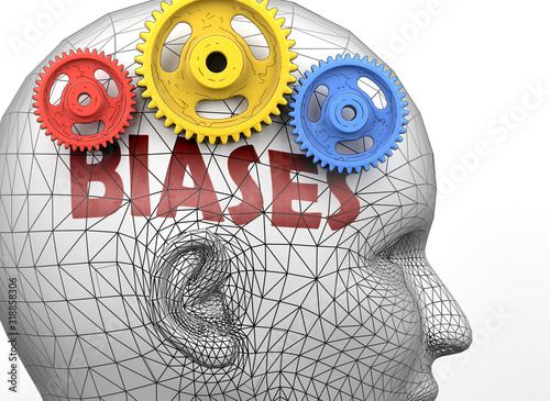Biases and human mind - pictured as word Biases inside a head to symbolize relat Canvas-taulu