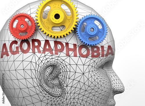 Photo Agoraphobia and human mind - pictured as word Agoraphobia inside a head to symbo