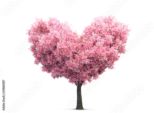 Valokuvatapetti pink valentine blossom tree in heart shape 3D illustration