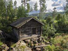 Historical Log Wooden Log Cabin In Sweden