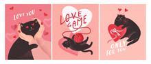 Cute Cats In Love. Romantic Valentines Day Greeting Card Or Poster. Cat Give Key Of Heart, Kitten In Hands, Play Love Game. Flyers, Invitation, Poster, Brochure. Vector Design Concept
