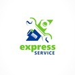 Logo express service repair silhouette wrench, screw-nut