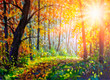 Autumn forest scene painting. Vivid morning in colorful forest with sun rays through trees artwork. Gold foliage, footpath in autumn forest art.