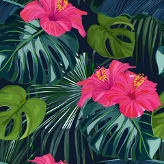 Fototapeta Na szklane drzwi i okna Summer seamless pattern with tropical palm leaves and hibiscus. Jungle fashion print. Hawaiian background. Vector illustration