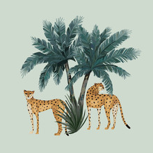 Animal Pattern With Leopards And Palm Trees. Vector Illustration. Vintage Print