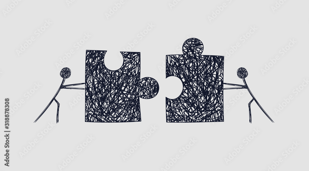 Fototapeta Schematic of two workers pushing puzzles towards each other