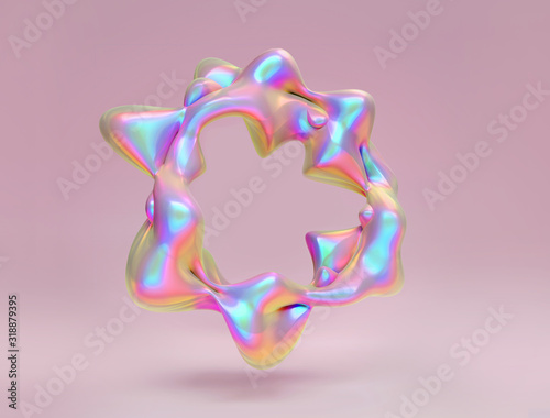 Holographic foil abstract liquid blob frame on pastel pink background. Neon 3D  render illustration with copy space. Trendy minimal geometric iridescence design for text - 318879395