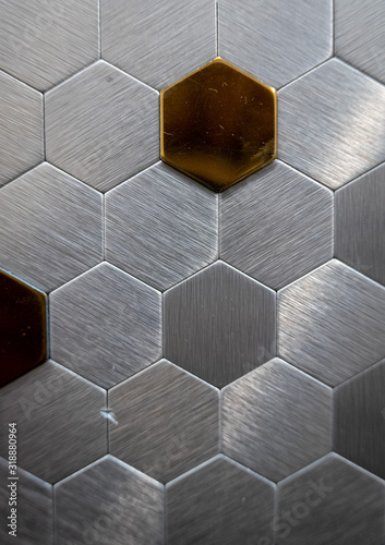 Decorative metal cells on the wall as a background Wallpaper Mural