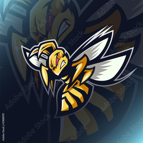 Valokuvatapetti Angry bee esport mascot logo design