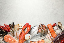 Fresh Fish And Seafood On Marble Table, Flat Lay. Space For Text