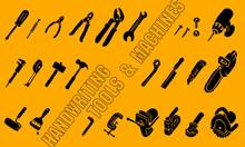 手書きの工具・機械のアイコンのイラスト