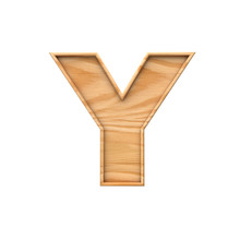 Wooden Capital Letter Y. 3D Rendering