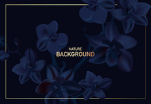 Navy Orchid Floral Wedding Invitation Card Template Design, Contrast Dark  Flowers On Dark Blue Background, Modern Vintage Style Banner. Realistic Vector With Gold Letters
