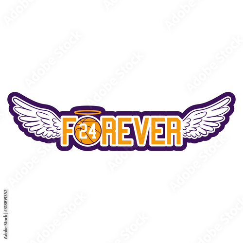 R.I.P. Kobe Bryant - Basketball with angel wings and glory. NBA legend, The world is in shock as news of Kobe Bryant's death spread 2020 january 26th. Kobe Bryant was 41.