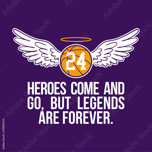 Fototapeta R.I.P. Kobe Bryant - Basketball with angel wings and glory. Heroes come and go, but legends are forever. obraz