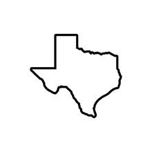 Texas Map Icon On White Backgr...