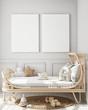 canvas print picture - mock up poster frame in children bedroom, Scandinavian style interior background, 3D render, 3D illustration