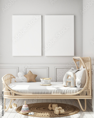 obraz lub plakat mock up poster frame in children bedroom, Scandinavian style interior background, 3D render, 3D illustration