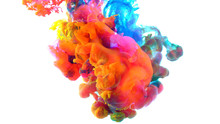 Color Drops In Water , Colorful Ink In Water,