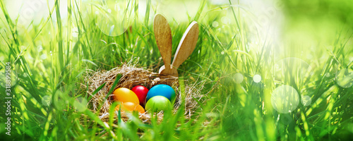 Obraz na plátně Meadow with colorful easter eggs