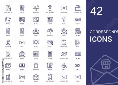 Foto correspondence icons set