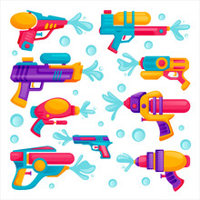 Water Guns Icons Set. Vector Flat Cartoon Illustration. Multicolor Kids Water Toys For Playing On Summer Beach