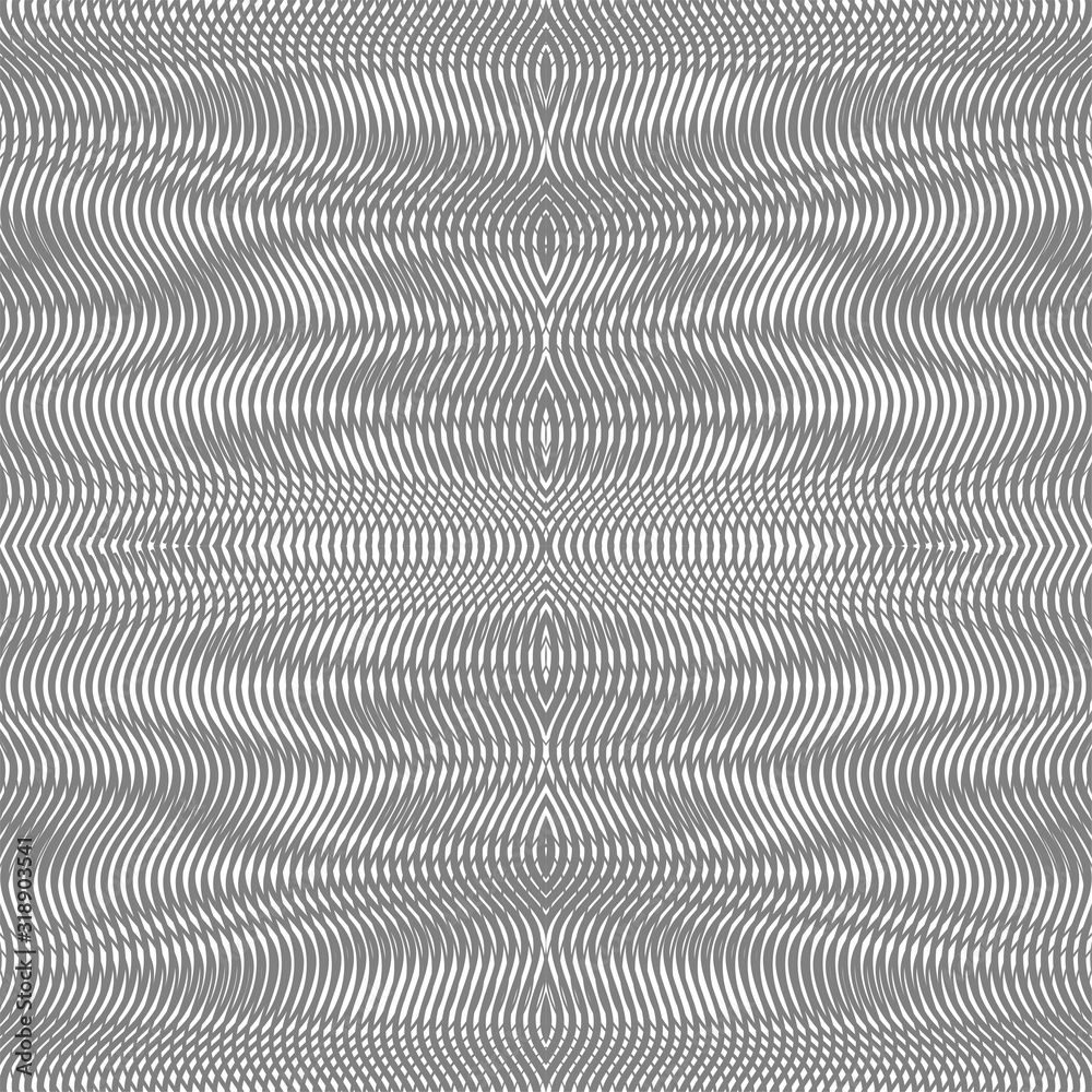 Fototapeta Optical illusion grey seamless pattern. Hipnotic linear monochrome background with moire effect. Can be used as design of books, websites, accessories for phones and tablet, title page, image for blog