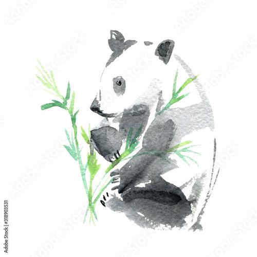 panda-i-bambus-recznie-rysowane-akwareli