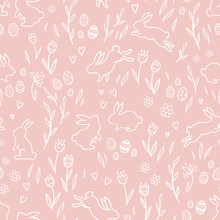 Cute Hand Drawn Easter Seamless Pattern With Bunnies, Flowers, Easter Eggs, Beautiful Background, Great For Easter Cards, Banner, Textiles, Wallpapers - Vector Design