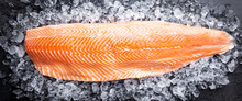 Fresh Raw Salmon Or Trout Sea Fish Fillet On Ice On Black Background, Top View