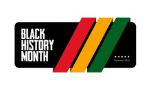 Black History Month Green, Yellow And Red Stripes Banner Template. African-American History Month - February.